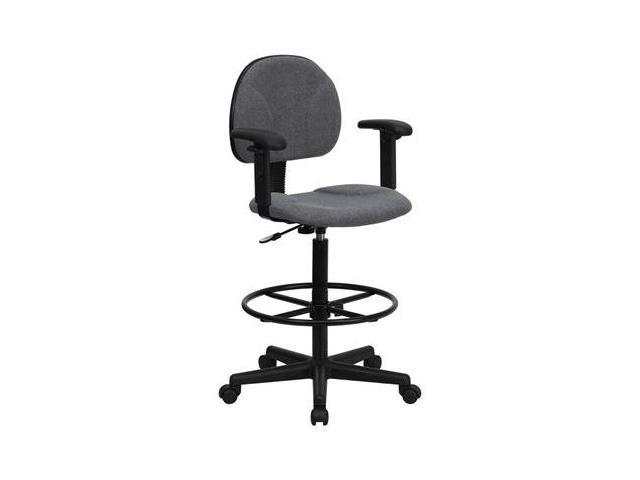 Flash Furniture Gray Fabric Multi-Functional Ergonomic Drafting Stool with Arms (Adjustable Range 26''-30.5''H or 22.5''-27''H) [BT-659-GRY-ARMS-GG]