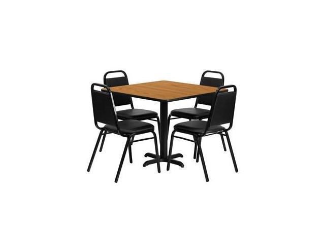 Flash Furniture 36'' Square Natural Laminate Table Set with 4 Black Trapezoidal Back Banquet Chairs [HDBF1011-GG]