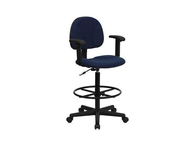 Flash Furniture Navy Blue Patterned Fabric Multi-Functional Ergonomic Drafting Stool with Arms (Adjustable Range 26''-30.5''H or 22.5''-27''H) [BT-659-NVY-ARMS-GG]