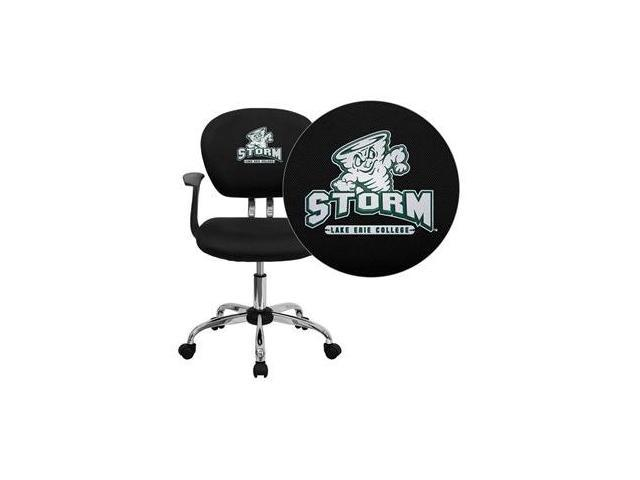 Flash Furniture Lake Erie College Storm Embroidered Black Mesh Task Chair with Arms and Chrome Base [H-2376-F-BK-ARMS-41044-EMB-GG] - OEM