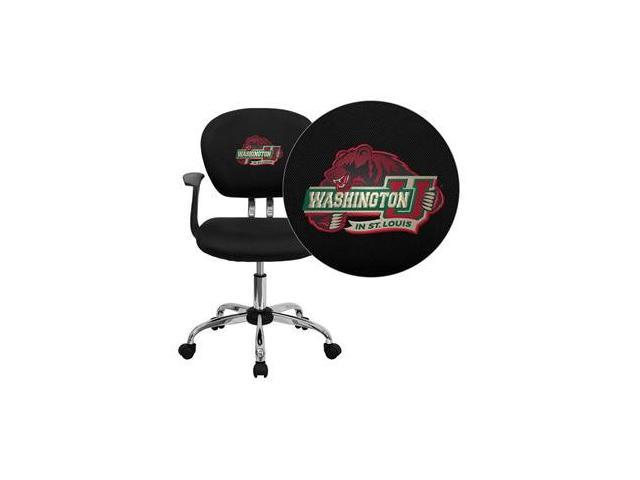 Flash Furniture Washington University in St.Louis Bears Embroidered Black Mesh Task Chair with Arms and Chrome Base [H-2376-F-BK-ARMS-45029-EMB-GG]