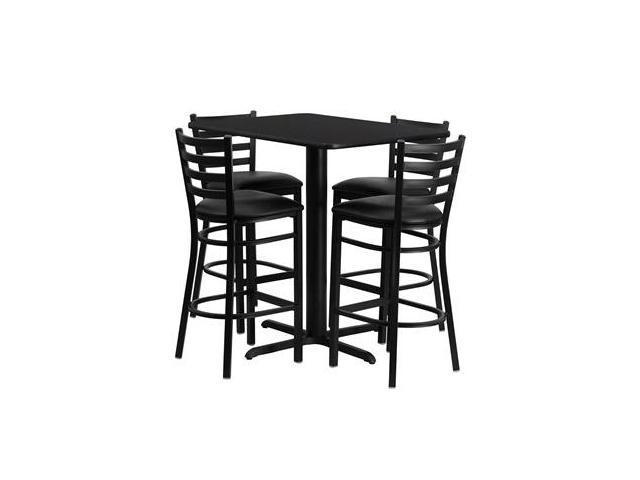 Flash Furniture 24''W x 42''L Rectangular Black Laminate Table Set with 4 Ladder Back Metal Bar Stools - Black Vinyl Seat [HDBF1017-GG]