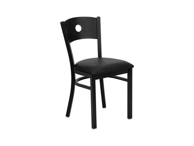 Flash Furniture HERCULES Series Black Circle Back Metal Restaurant Chair with Black Vinyl Seat [XU-DG-60119-CIR-BLKV-GG]