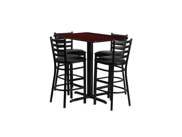 Flash Furniture 24''W x 42''L Rectangular Mahogany Laminate Table Set with 4 Ladder Back Metal Bar Stools - Black Vinyl Seat [HDBF1018-GG]