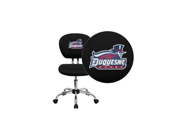 Flash Furniture Duquesne University Dukes Embroidered Black Mesh Task Chair with Chrome Base [H-2376-F-BK-41026-EMB-GG]