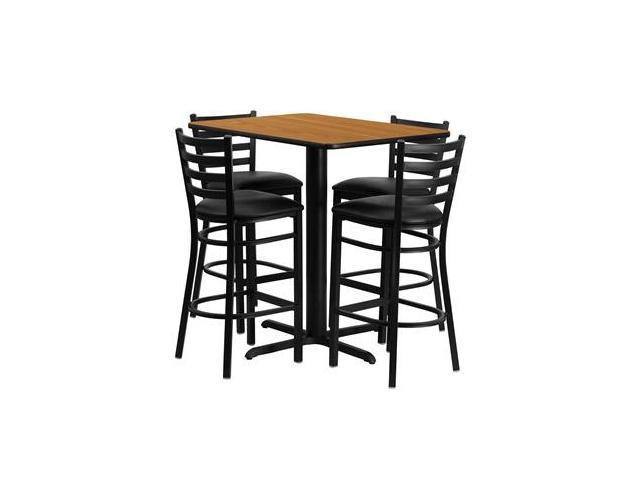 Flash Furniture 24''W x 42''L Rectangular Natural Laminate Table Set with 4 Ladder Back Metal Bar Stools - Black Vinyl Seat [HDBF1019-GG]