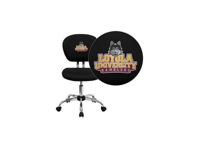 Flash Furniture Loyola University Chicago Ramblers Embroidered Black Mesh Task Chair with Chrome Base [H-2376-F-BK-45014-EMB-GG]