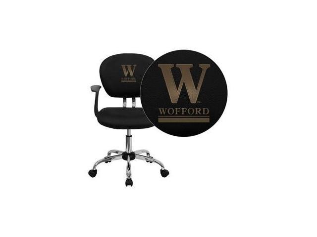 Flash Furniture Wofford College Terrier Embroidered Black Mesh Task Chair with Arms and Chrome Base [H-2376-F-BK-ARMS-45032-EMB-GG]