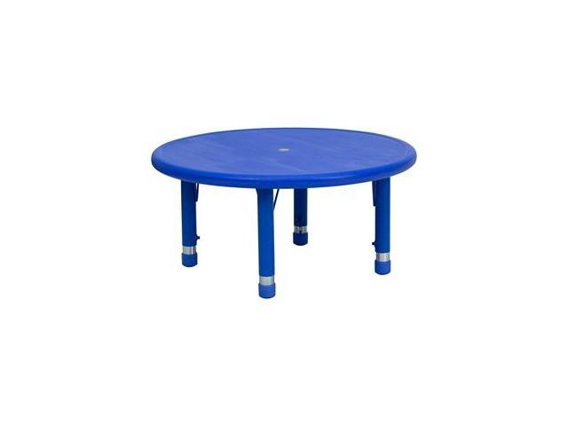 Flash Furniture 33'' Round Height Adjustable Blue Plastic Activity Table [YU-YCX-007-2-ROUND-TBL-BLUE-GG]