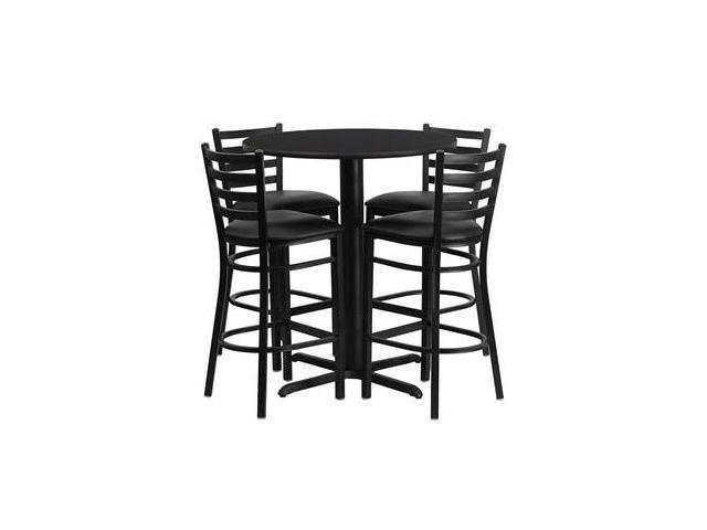 Flash Furniture 30'' Round Black Laminate Table Set with 4 Ladder Back Metal Bar Stools - Black Vinyl Seat [HDBF1021-GG]
