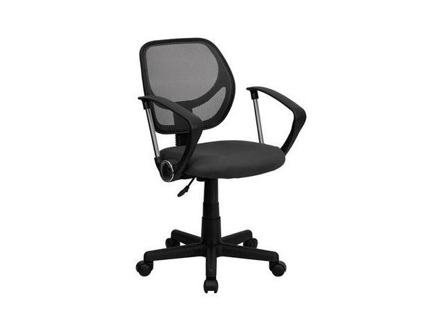 Flash Furniture Mid-Back Gray Mesh Task Chair and Computer Chair with Arms [WA-3074-GY-A-GG]