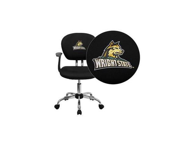 Flash Furniture Wright State University Raiders Embroidered Black Mesh Task Chair with Arms and Chrome Base [H-2376-F-BK-ARMS-45036-EMB-GG]