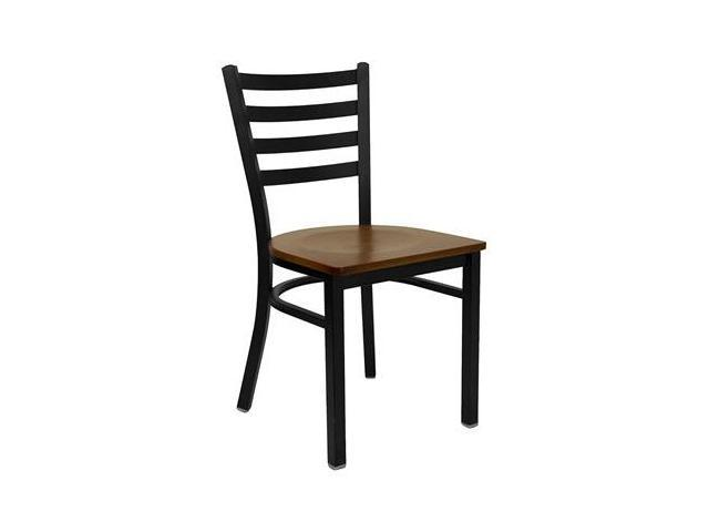 Flash Furniture HERCULES Series Black Ladder Back Metal Restaurant Chair with Cherry Wood Seat [XU-DG694BLAD-CHYW-GG]