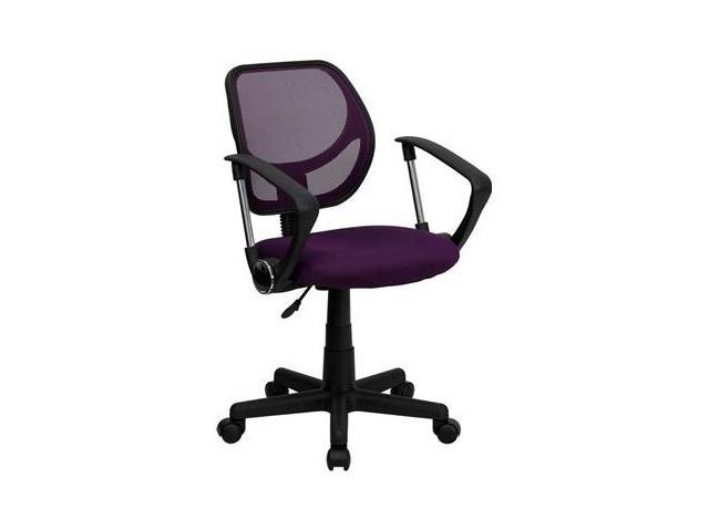 Flash Furniture Mid-Back Purple Mesh Task Chair and Computer Chair with Arms [WA-3074-PUR-A-GG]