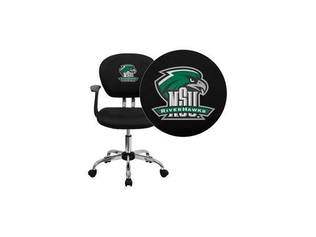 Flash Furniture Northeastern State University Riverhawks Embroidered Black Mesh Task Chair with Arms and Chrome Base [H-2376-F-BK-ARMS-41057-EMB-GG]