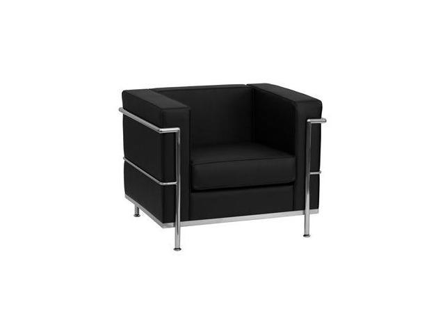 Bretford Series Black Leather Chair with Encasing Frame by Flash Furniture