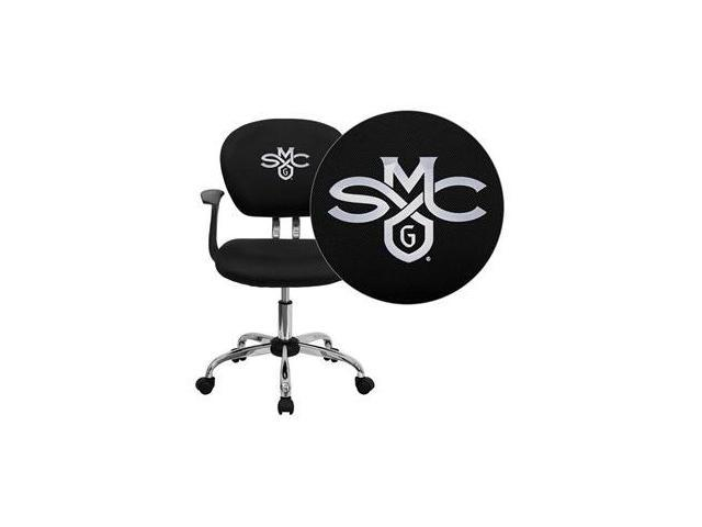 Flash Furniture Saint Mary's College of California Gaels Embroidered Black Mesh Task Chair with Arms and Chrome Base [H-2376-F-BK-ARMS-41067-EMB-GG]