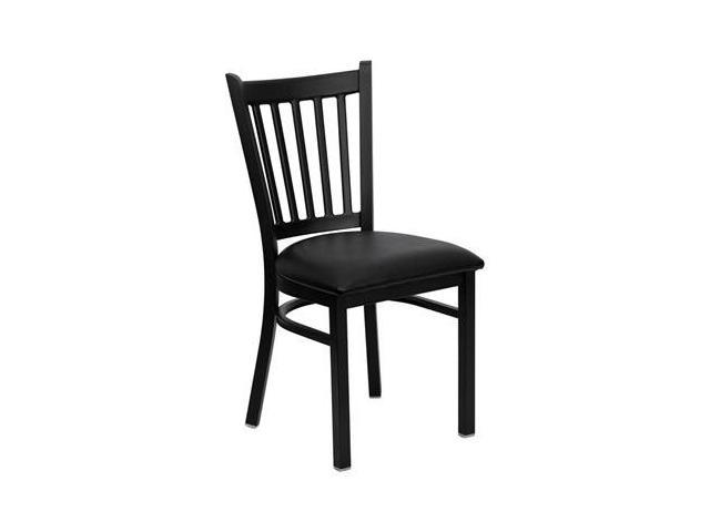 Flash Furniture HERCULES Series Black Vertical Back Metal Restaurant Chair with Black Vinyl Seat [XU-DG-6Q2B-VRT-BLKV-GG]