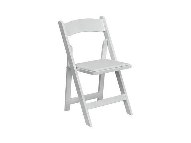 Flash Furniture HERCULES Series White Wood Folding Chair with Vinyl Padded Seat [XF-2901-WH-WOOD-GG]