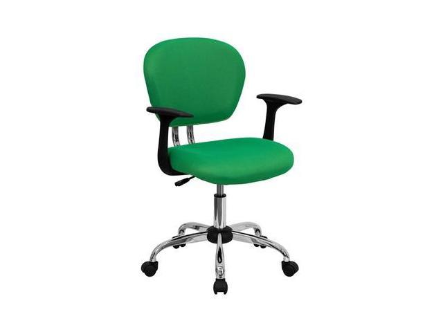 Flash Furniture Mid-Back Bright Green Mesh Task Chair with Arms and Chrome Base [H-2376-F-BRGRN-ARMS-GG]