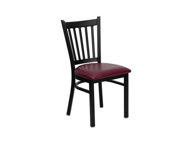 Flash Furniture HERCULES Series Black Vertical Back Metal Restaurant Chair with Burgundy Vinyl Seat [XU-DG-6Q2B-VRT-BURV-GG]