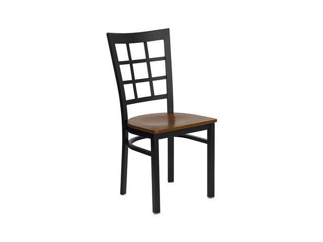 Flash Furniture HERCULES Series Black Window Back Metal Restaurant Chair with Cherry Wood Seat [XU-DG6Q3BWIN-CHYW-GG]