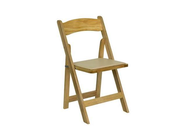 Flash Furniture HERCULES Series Natural Wood Folding Chair with Vinyl Padded Seat [XF-2903-NAT-WOOD-GG]