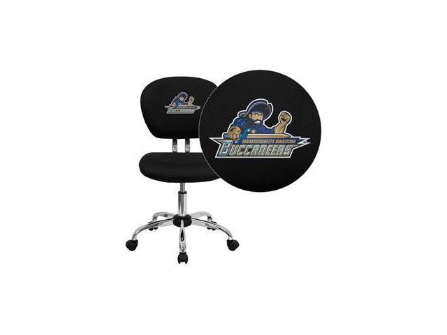 Flash Furniture Massachusetts Maritime Academy Buccaneers Embroidered Black Mesh Task Chair with Chrome Base [H-2376-F-BK-41051-EMB-GG]