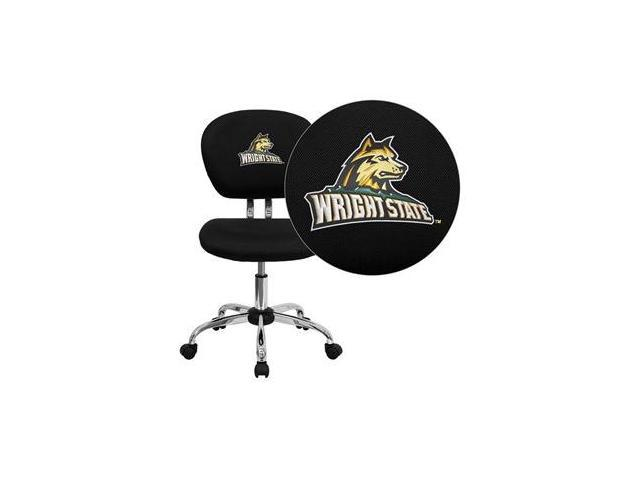 Flash Furniture Wright State University Raiders Embroidered Black Mesh Task Chair with Chrome Base [H-2376-F-BK-45036-EMB-GG]