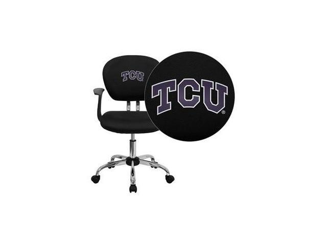 Flash Furniture Texas Christian University Horned Frogs Embroidered Black Mesh Task Chair with Arms and Chrome Base [H-2376-F-BK-ARMS-40004-EMB-GG]