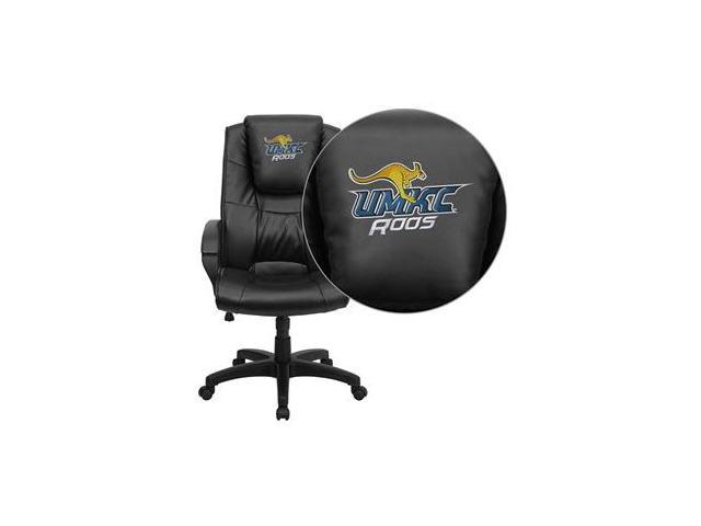 Flash Furniture Missouri, Kansas City Kangaroos Embroidered Black Leather Executive Office Chair [GO-5301BSPEC-BK-LEA-41086-EMB-GG]