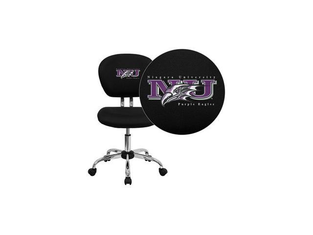Flash Furniture Niagara University Purple Eagles Embroidered Black Mesh Task Chair with Chrome Base [H-2376-F-BK-41056-EMB-GG]