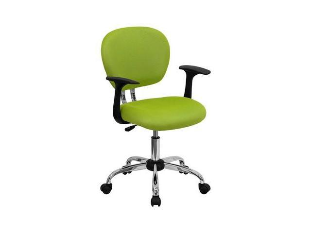 Flash Furniture Mid-Back Apple Green Mesh Task Chair with Arms and Chrome Base [H-2376-F-GN-ARMS-GG]