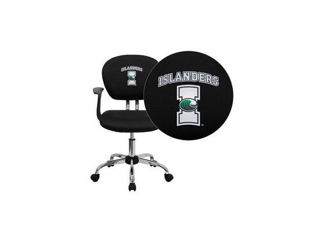 Flash Furniture Texas A&M University - Corpus Christi Islanders Embroidered Black Mesh Task Chair with Arms and Chrome Base [H-2376-F-BK-ARMS-41076-EMB-GG]
