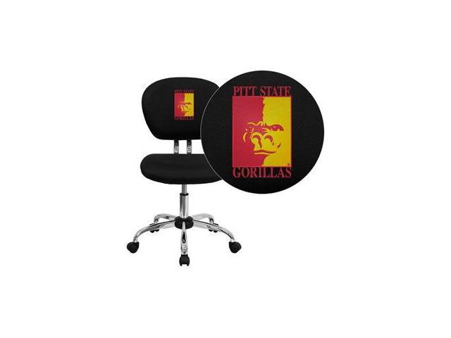Flash Furniture Pittsburg State University Gorillas Embroidered Black Mesh Task Chair with Chrome Base [H-2376-F-BK-41061-EMB-GG] - OEM