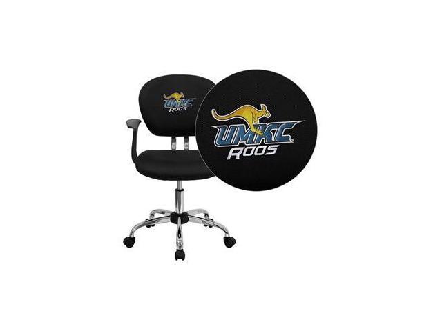 Flash Furniture Missouri, Kansas City Kangaroos Embroidered Black Mesh Task Chair with Arms and Chrome Base [H-2376-F-BK-ARMS-41086-EMB-GG]