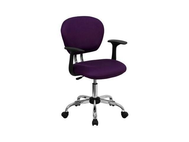 Flash Furniture Mid-Back Purple Mesh Task Chair with Arms and Chrome Base [H-2376-F-PUR-ARMS-GG]