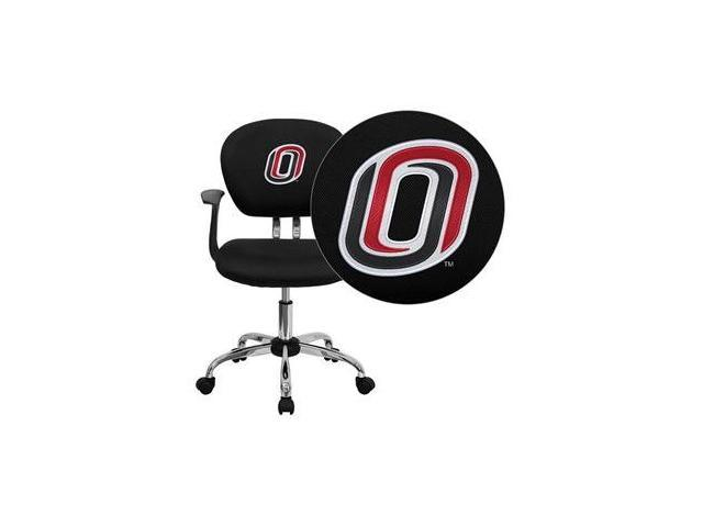 Flash Furniture Nebraska at Omaha Mavericks Embroidered Black Mesh Task Chair with Arms and Chrome Base [H-2376-F-BK-ARMS-41089-EMB-GG]