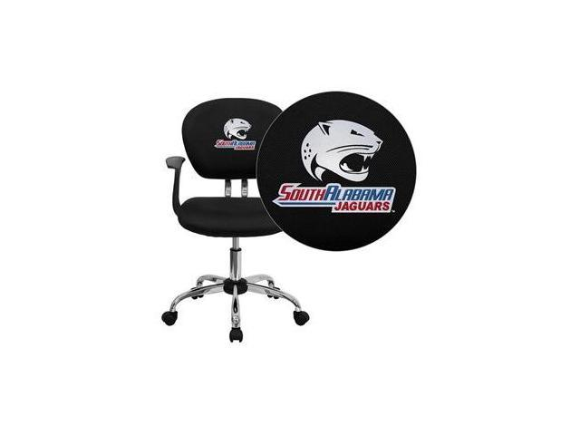 Flash Furniture South Alabama Jaguars Embroidered Black Mesh Task Chair with Arms and Chrome Base [H-2376-F-BK-ARMS-41091-EMB-GG]