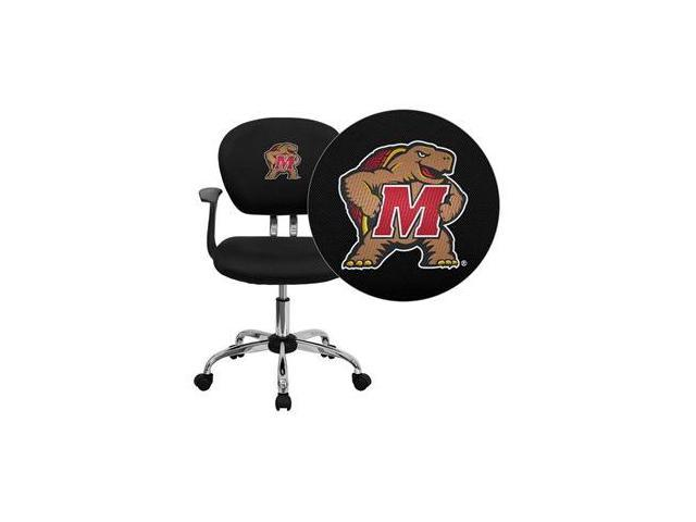 Flash Furniture Maryland Terrapins Embroidered Black Mesh Task Chair with Arms and Chrome Base [H-2376-F-BK-ARMS-40029-EMB-GG]