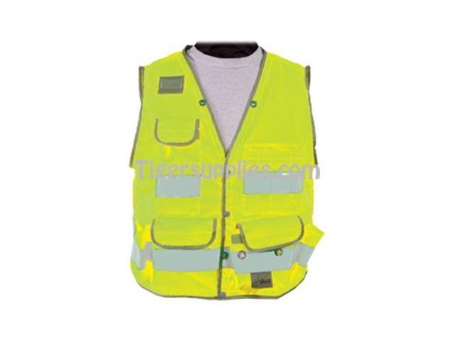 Seco 8069-Series Class 2 Surveyors Utility Vest with Mesh Back L-Large Fluorescent Yellow