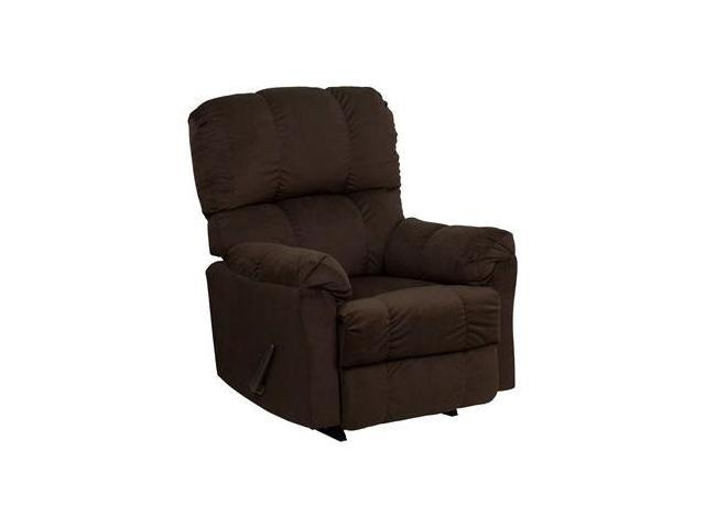 Contemporary Top Hat Chocolate Micro Fiber Rocker Recliner By Flash Furniture