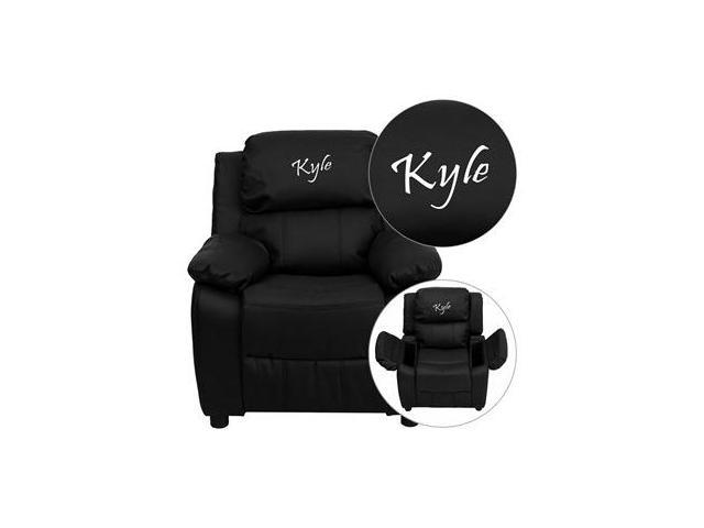 Personalized Deluxe Heavily Padded Black Leather Kids Recliner with Storage Arms [BT-7985-KID-BK-LEA-EMB-GG]