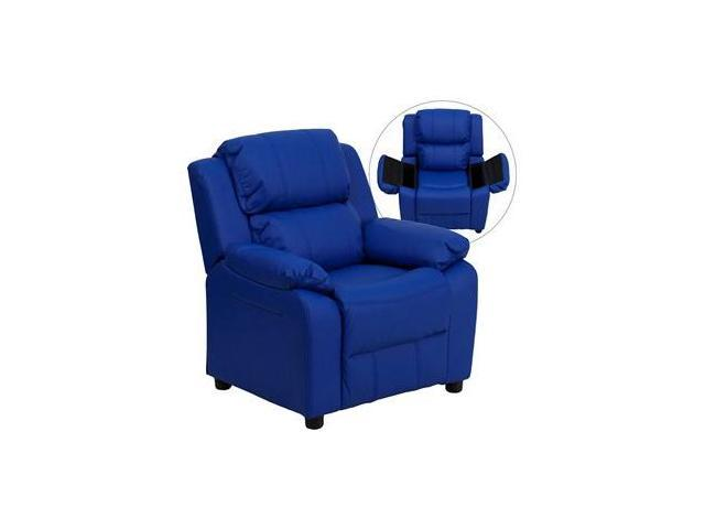 Deluxe Heavily Padded Contemporary Blue Vinyl Kids Recliner with Storage Arms [BT-7985-KID-BLUE-GG]