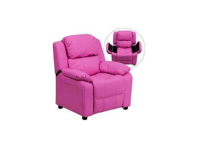 Deluxe Heavily Padded Contemporary Hot Pink Vinyl Kids Recliner with Storage Arms [BT-7985-KID-HOT-PINK-GG]
