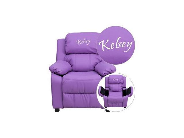 Personalized Deluxe Heavily Padded Lavender Vinyl Kids Recliner with Storage Arms [BT-7985-KID-LAV-EMB-GG]