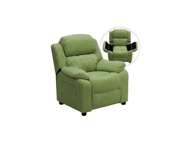 Deluxe Heavily Padded Contemporary Avocado Microfiber Kids Recliner with Storage Arms [BT-7985-KID-MIC-AVO-GG]