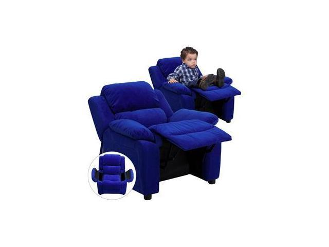 Deluxe Heavily Padded Contemporary Blue Microfiber Kids Recliner with Storage Arms [BT-7985-KID-MIC-BLUE-GG]