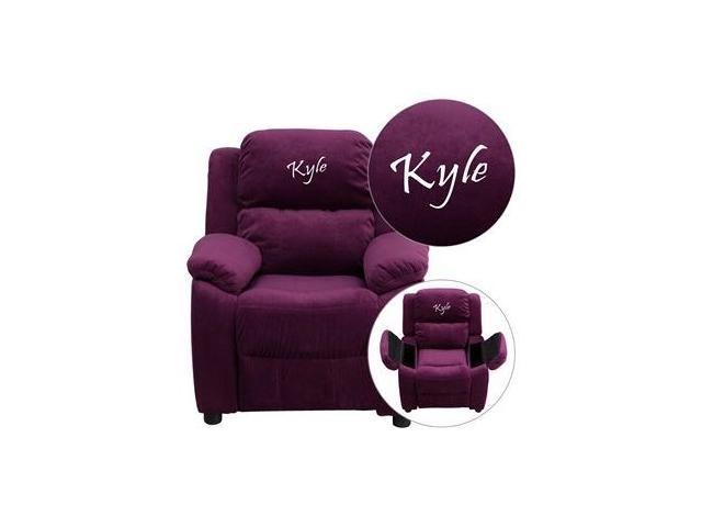 Personalized Deluxe Heavily Padded Purple Microfiber Kids Recliner with Storage Arms [BT-7985-KID-MIC-PUR-EMB-GG]