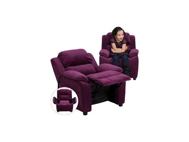 Deluxe Heavily Padded Contemporary Purple Microfiber Kids Recliner with Storage Arms [BT-7985-KID-MIC-PUR-GG]